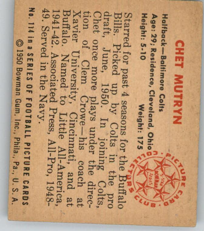 1950 Bowman #114 Chet Mutryn RC back image