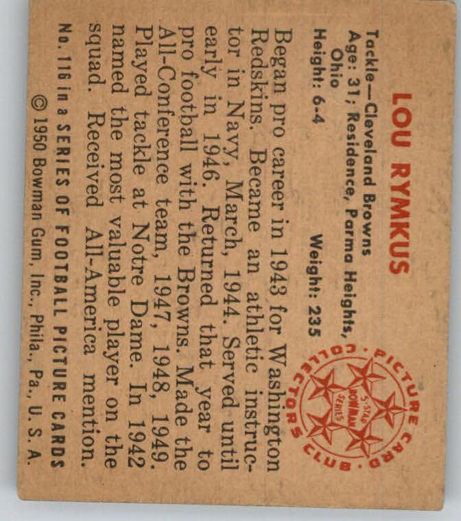 1950 Bowman #116 Lou Rymkus RC back image