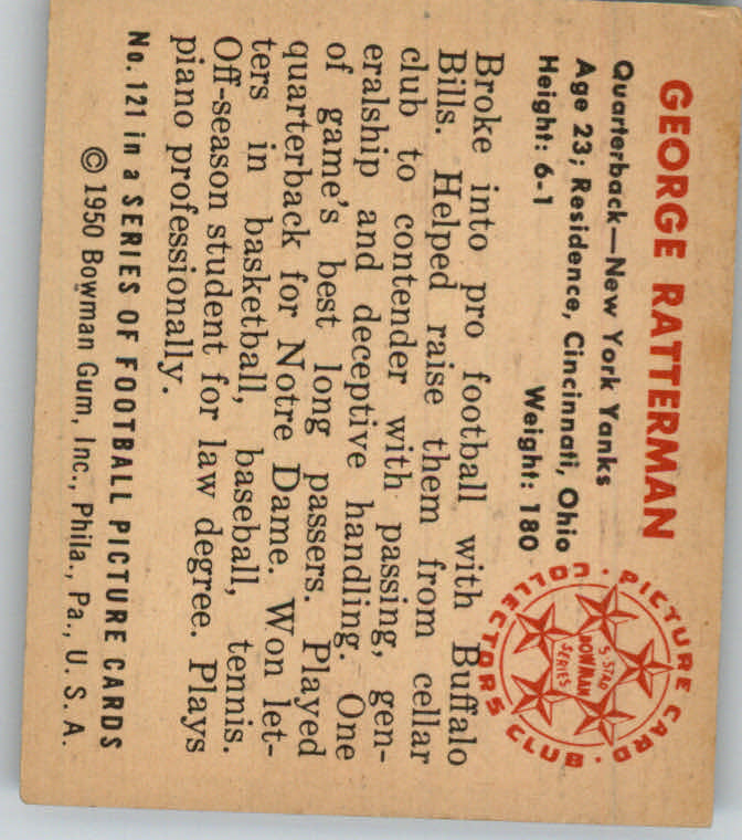 1950 Bowman #121 George Ratterman RC back image