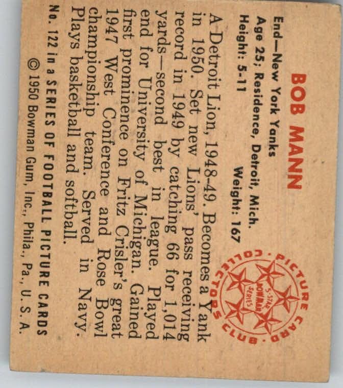 1950 Bowman #122 Bob Mann back image