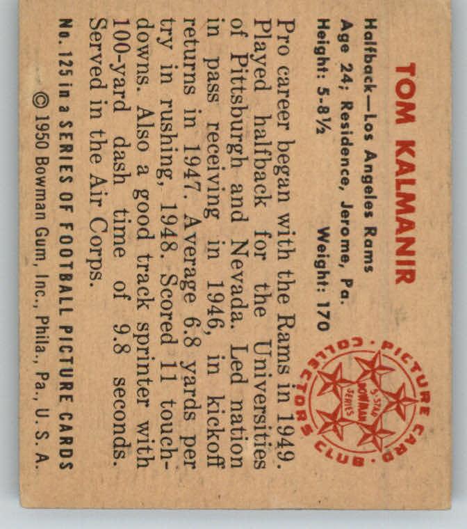 1950 Bowman #125 Tom Kalmanir RC back image