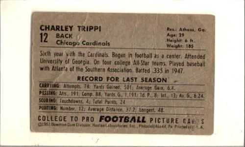 1952 Bowman Large #12 Charley Trippi back image
