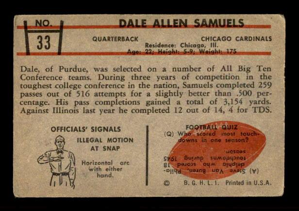 1953 Bowman #33 Dale Samuels back image