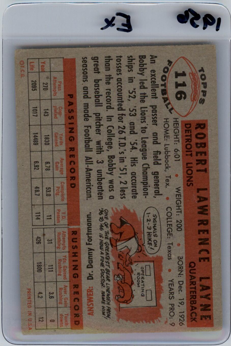 1956 Topps #116 Bobby Layne back image