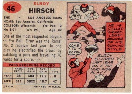 1957 Topps #46 Elroy Hirsch back image