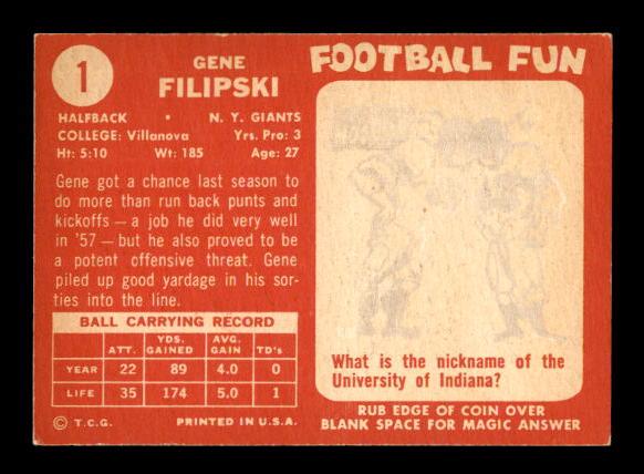 1958 Topps #1 Gene Filipski RC back image