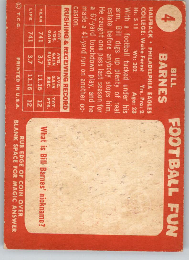 1958 Topps #4 Bill Barnes RC back image