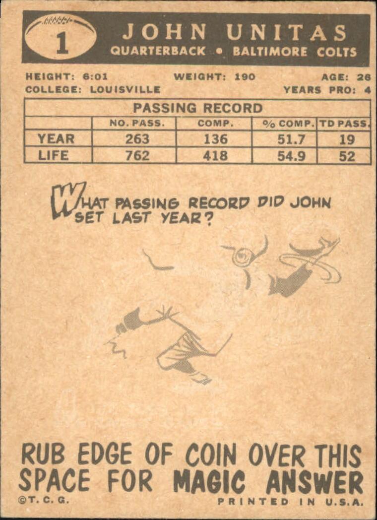 1959 Topps #1 Johnny Unitas back image