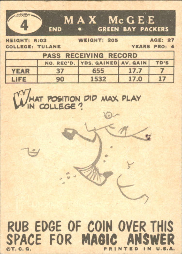 1959 Topps #4 Max McGee RC back image