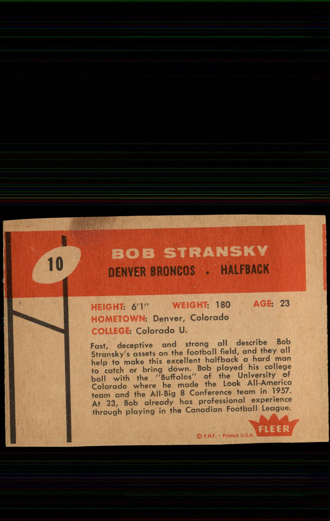 1960 Fleer #10 Bob Stransky RC back image