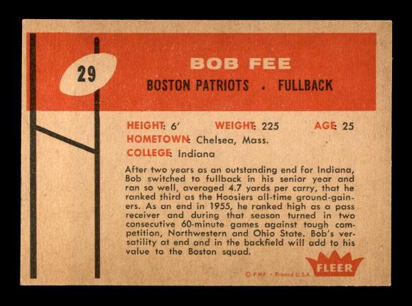 1960 Fleer #29 Bob Fee RC back image