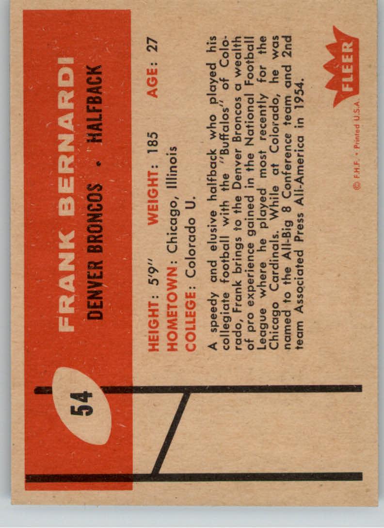1960 Fleer #54 Frank Bernardi RC back image