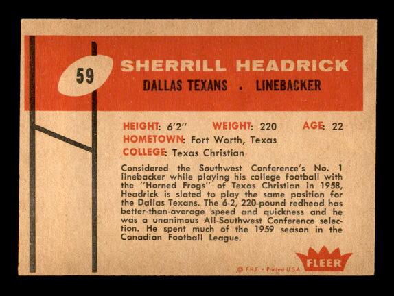 1960 Fleer #59 Sherrill Headrick RC back image