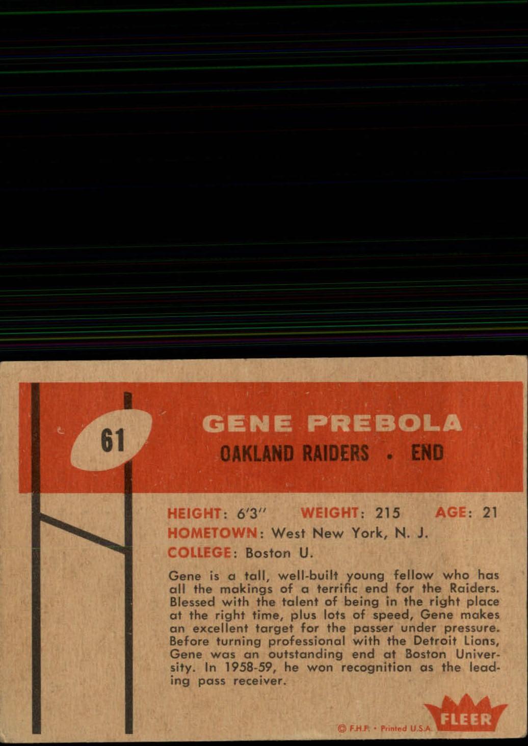 1960 Fleer #61 Gene Prebola RC back image