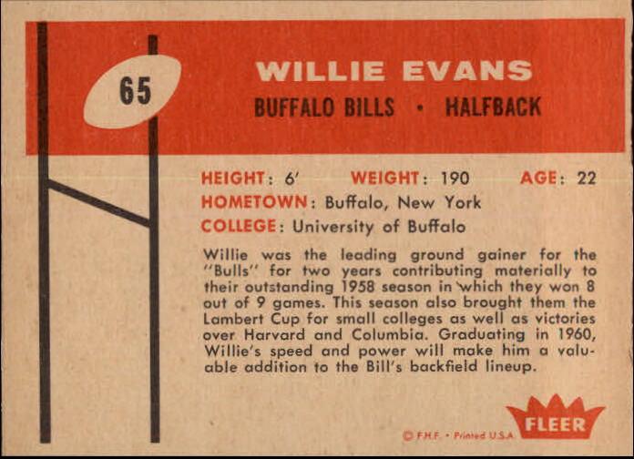 1960 Fleer #65 Willie Evans RC back image