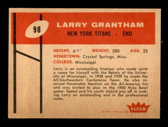 1960 Fleer #98 Larry Grantham RC back image