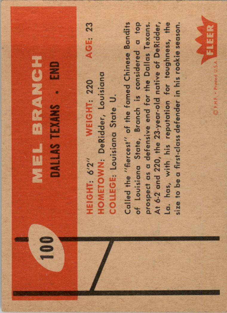 1960 Fleer #100 Mel Branch RC back image
