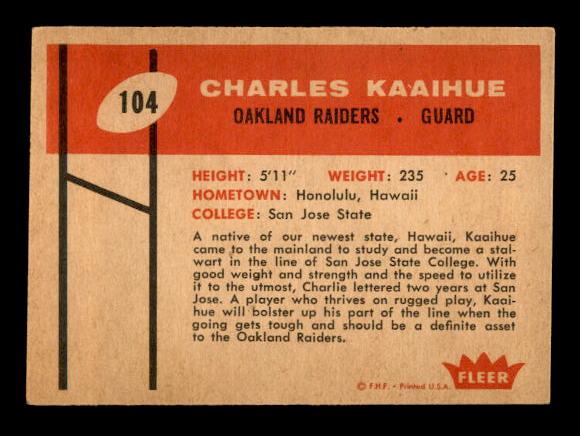 1960 Fleer #104 Charlie Kaaihue RC back image