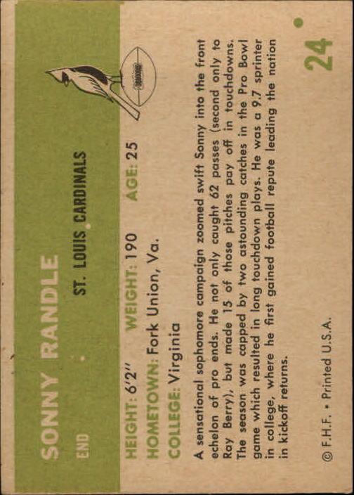 1961 Fleer #24 Sonny Randle RC back image