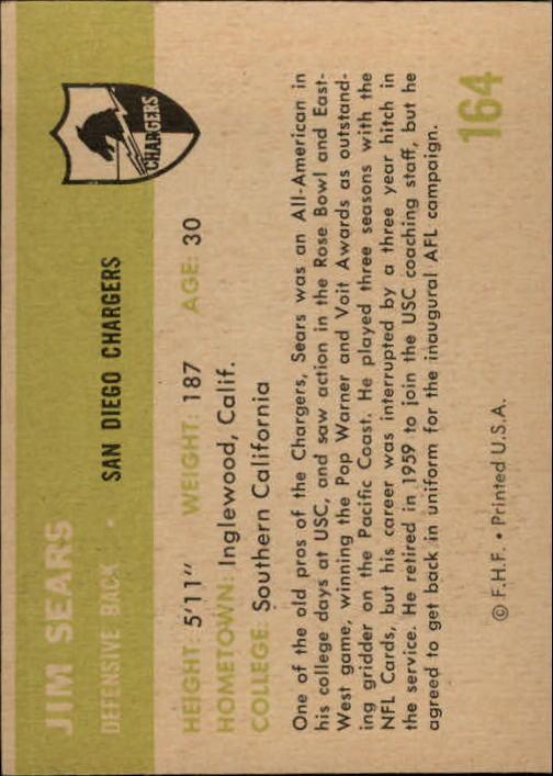 1961 Fleer #164 Jim Sears RC back image
