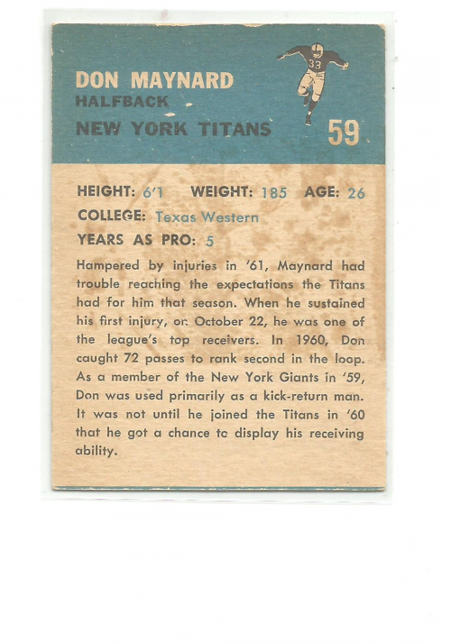 1962 Fleer #59 Don Maynard back image