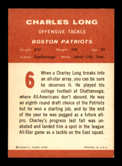 1963 Fleer #6 Charles Long SP RC back image