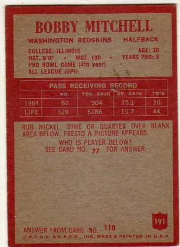 1965 Philadelphia #191 Bobby Mitchell back image