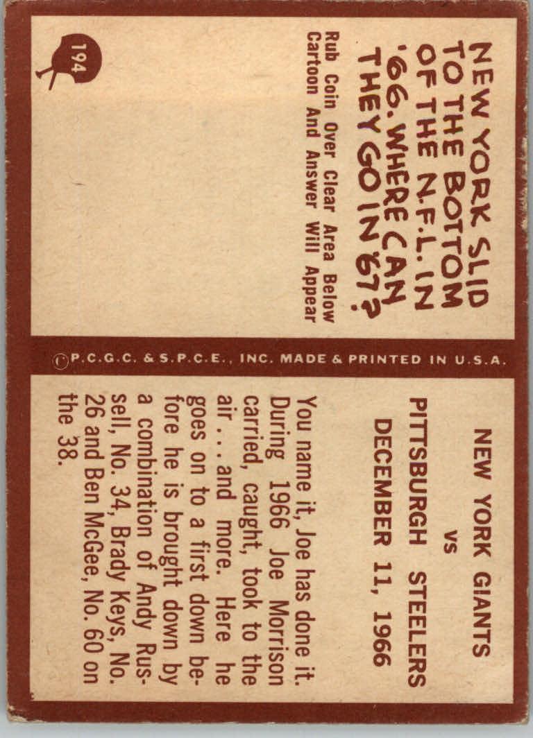 1967 Philadelphia #194 New York Giants PC back image