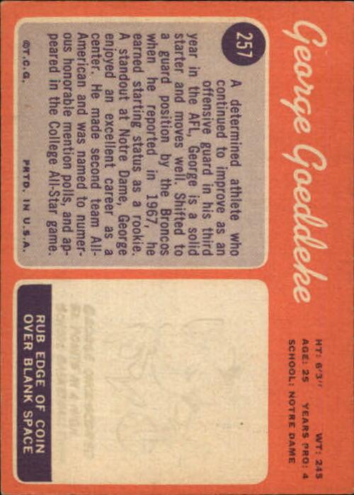 1970 Topps #257 George Goeddeke RC back image
