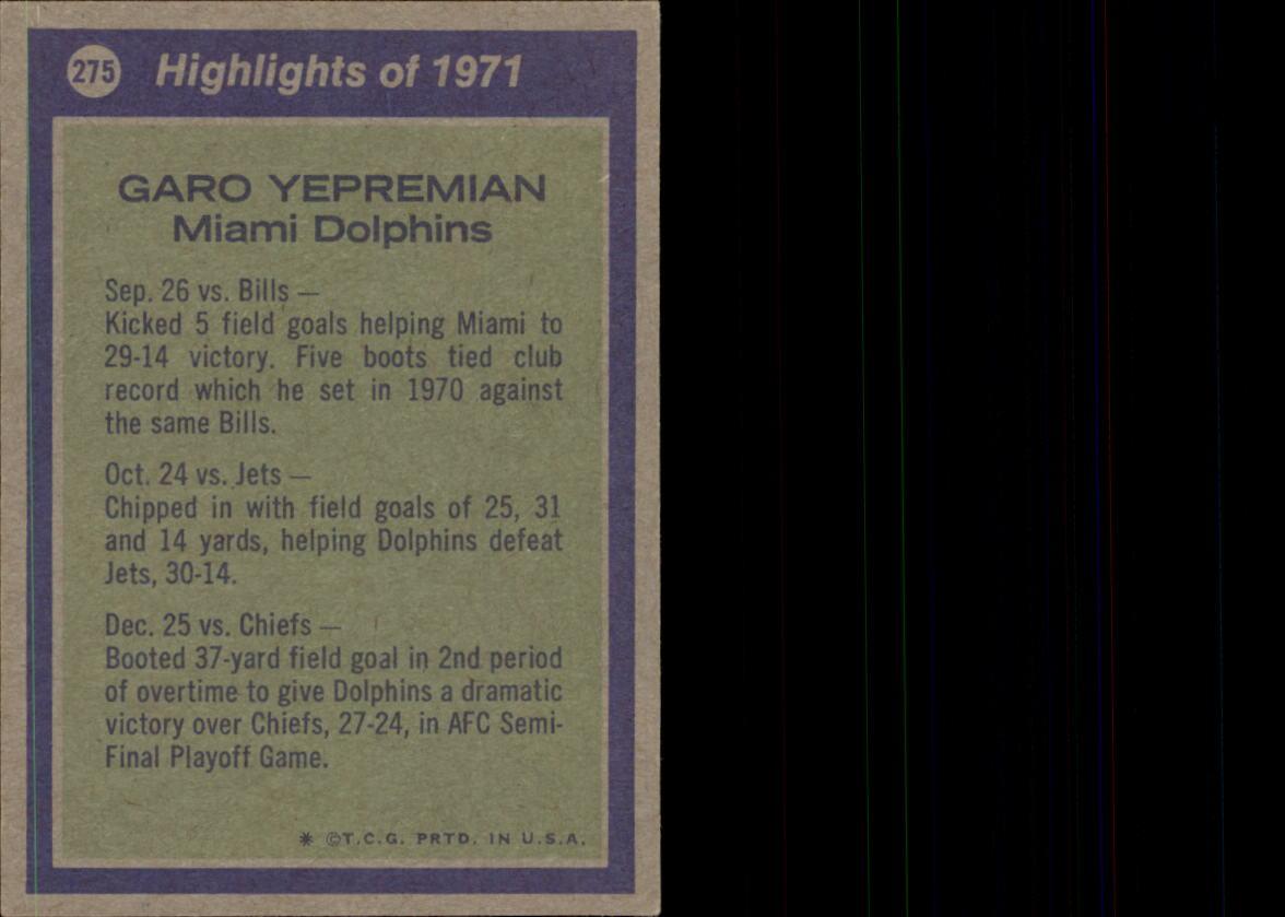 1972 Topps #275 Garo Yepremian AP back image