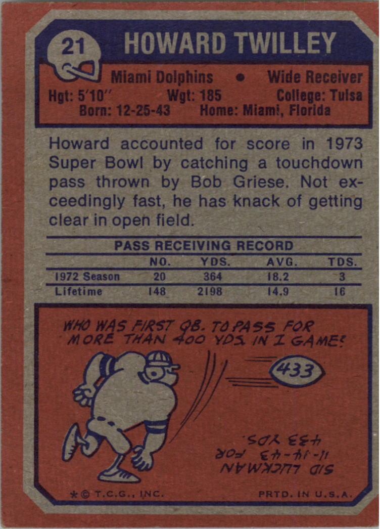 1973 Topps Howard Twilley #21