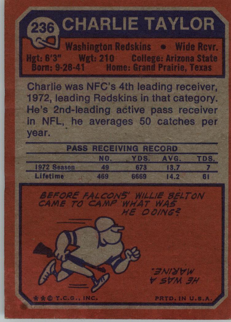 1973 Topps #236 Charley Taylor UER/(Misspelled Charlie/on both sides) back image