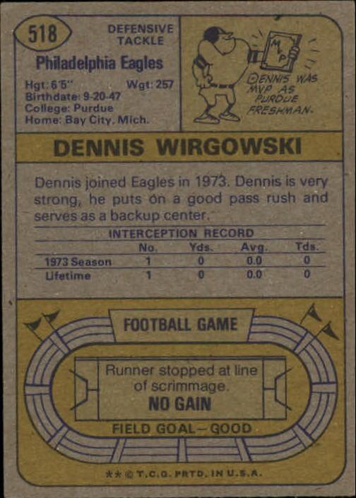 1974 Topps #518 Dennis Wirgowski back image