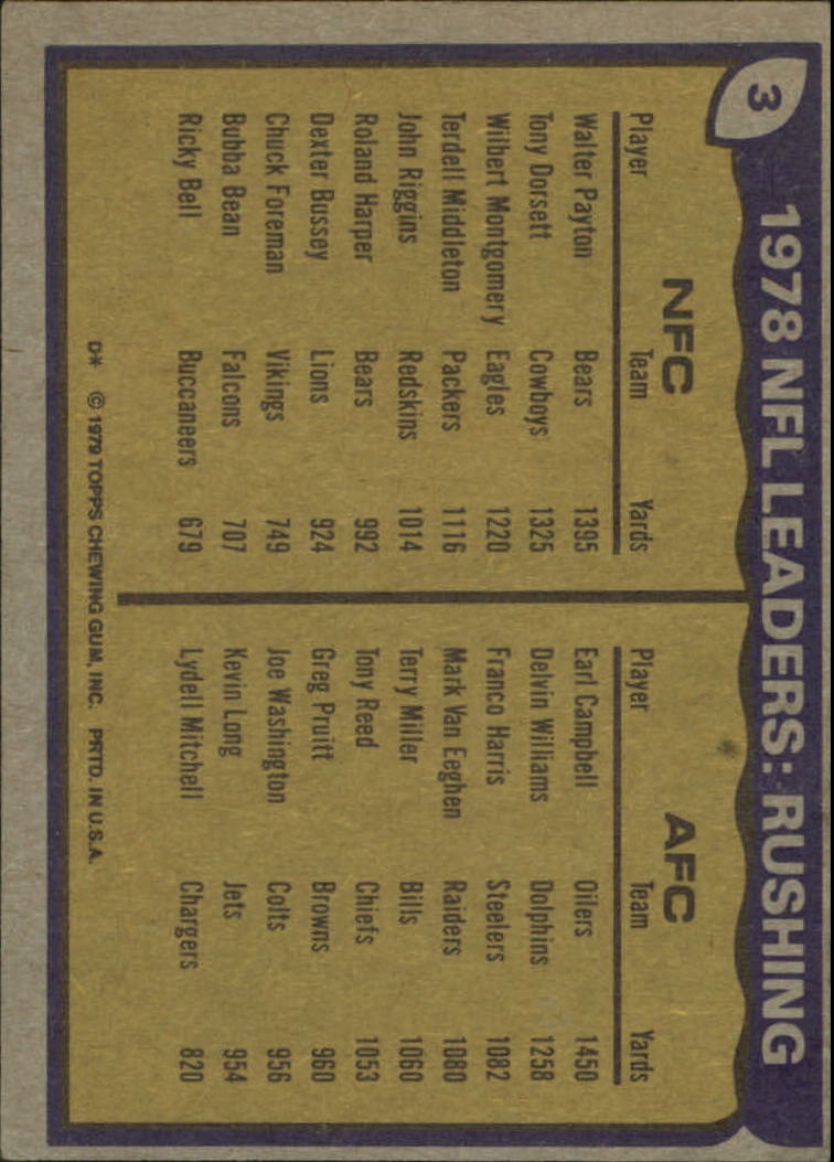 1979 Topps #3 Rushing Leaders/Earl Campbell/Walter Payton back image
