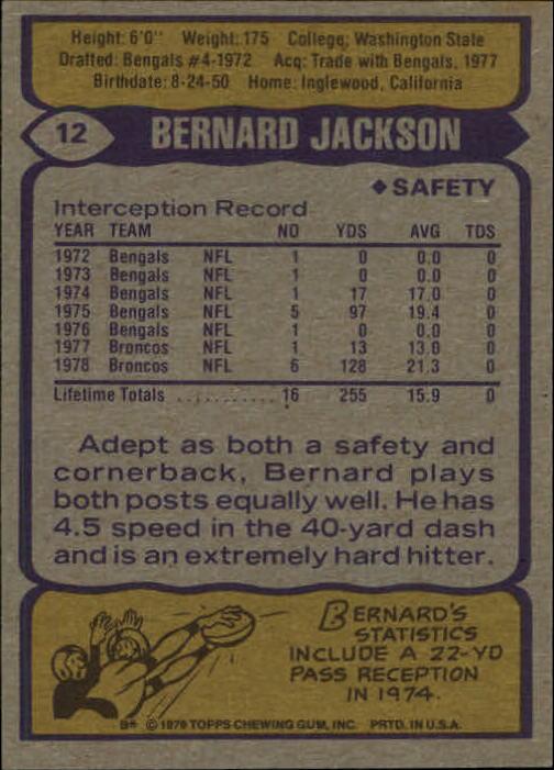 1979 Topps #12 Bernard Jackson back image