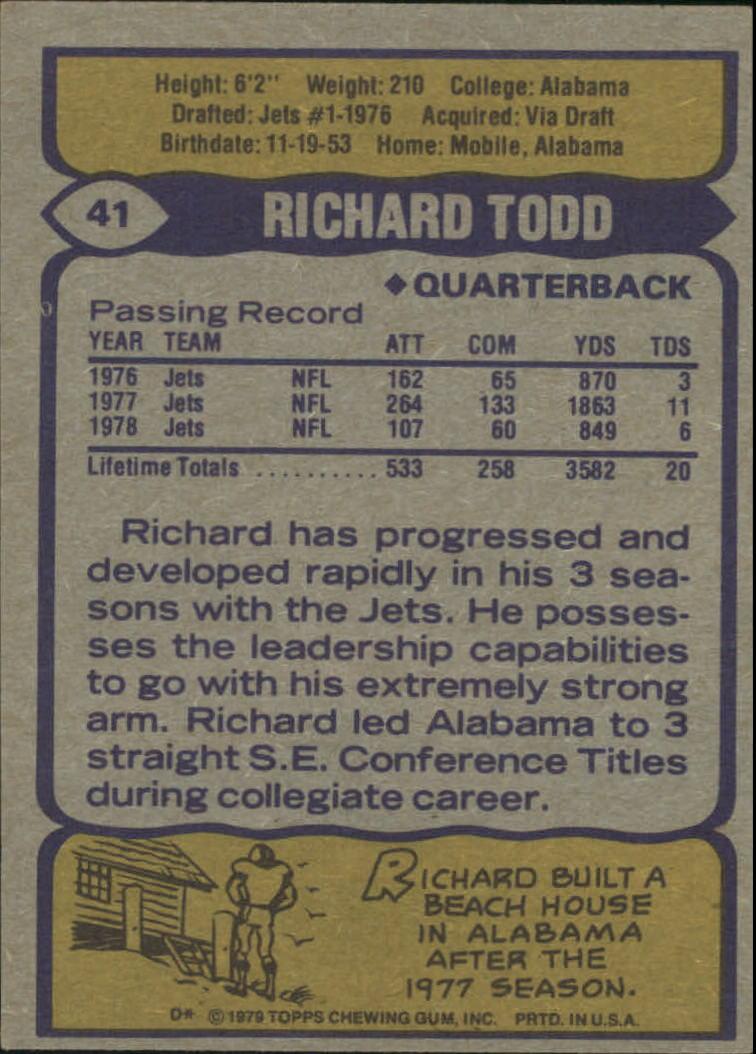 1979 Topps #41 Richard Todd back image