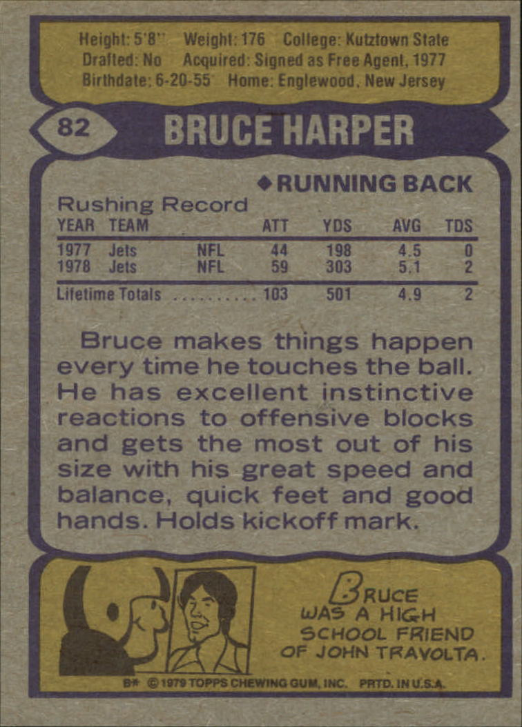 1979 Topps #82 Bruce Harper back image