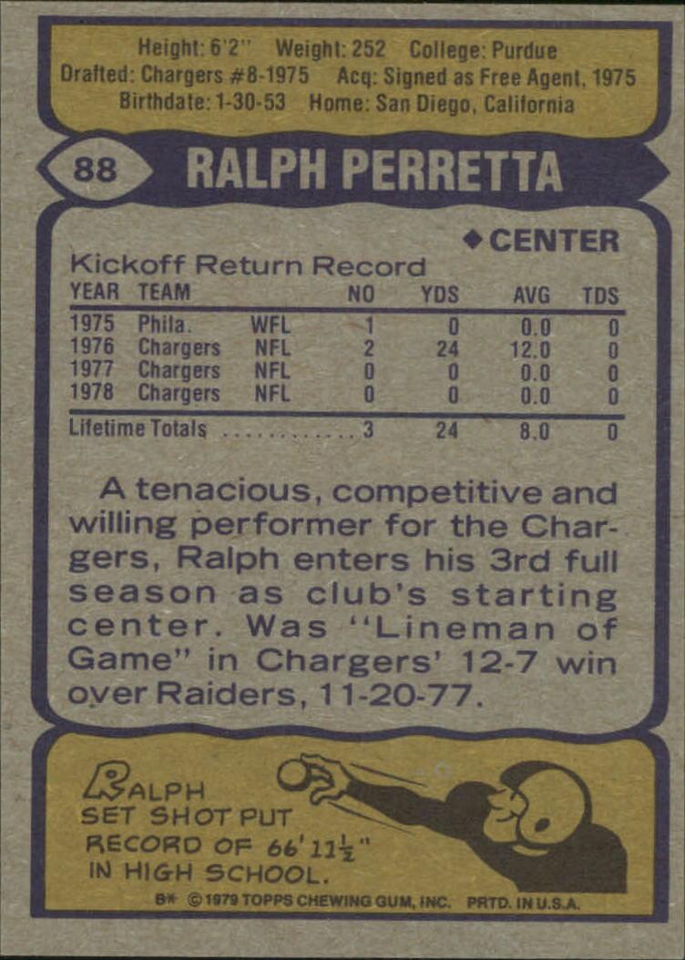 1979 Topps #88 Ralph Perretta back image