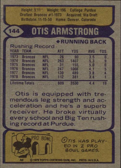 1979 Topps #144 Otis Armstrong back image