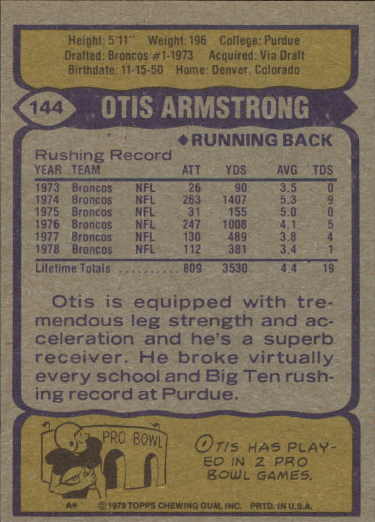 1979 Topps #144 Otis Armstrong back image