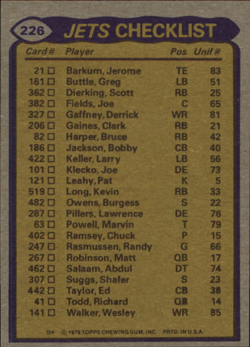 1979 Topps #226 New York Jets TL/Kevin Long/Wesley Walker/Bobby Jackson/Burgess Owens/Joe Klecko/(checklist back) back image