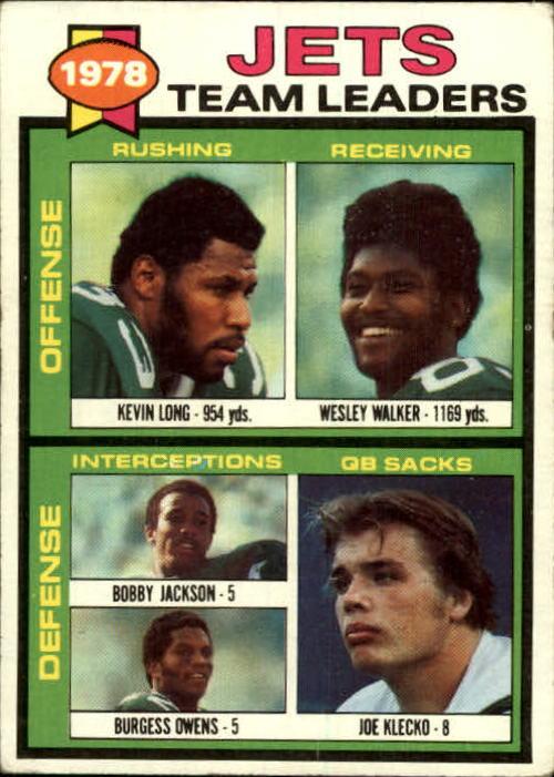 1979 Topps #226 New York Jets TL/Kevin Long/Wesley Walker/Bobby Jackson/Burgess Owens/Joe Klecko/(checklist back)