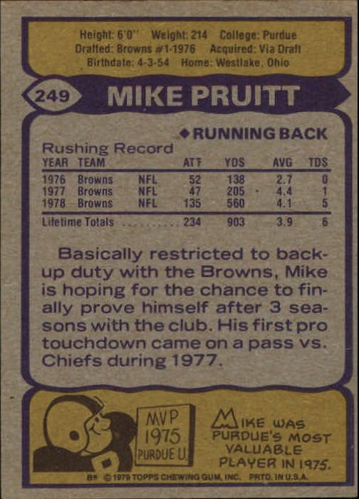 1979 Topps #249 Mike Pruitt back image