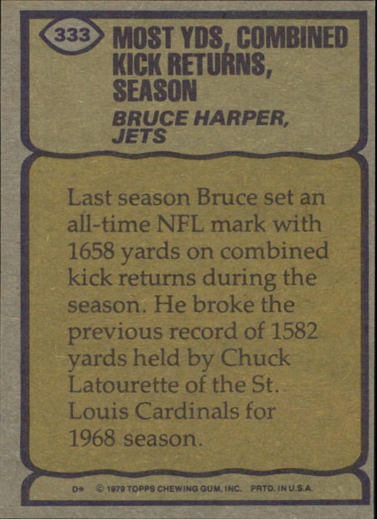 1979 Topps #333 Bruce Harper RB/Most Combined Kick/Return Yards& Season back image