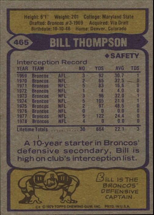 1979 Topps #465 Bill Thompson AP back image