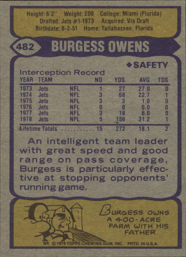 1979 Topps #482 Burgess Owens back image