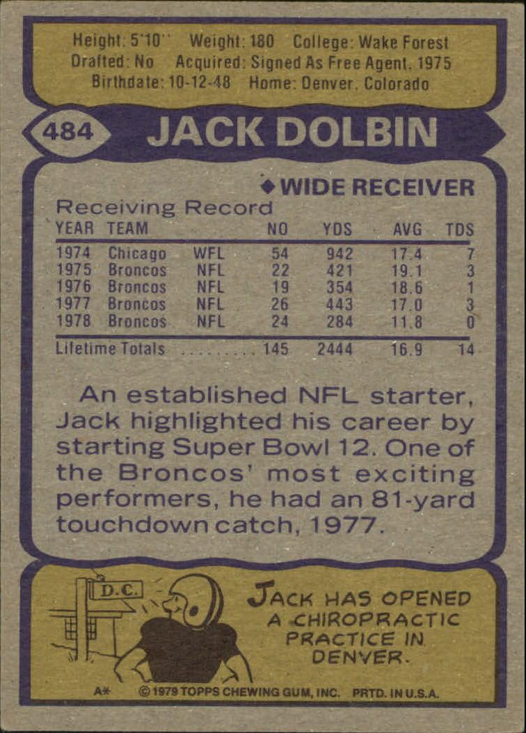1979 Topps #484 Jack Dolbin back image