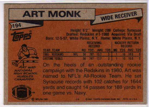 1981 Topps #194 Art Monk RC back image
