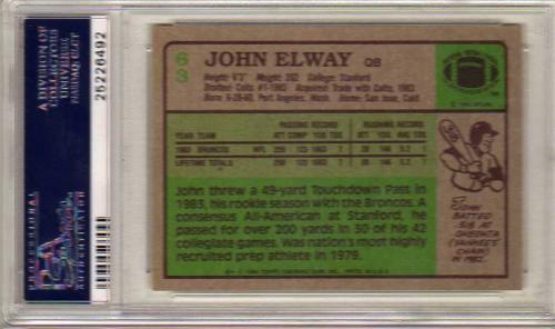 1984 Topps #63 John Elway RC back image