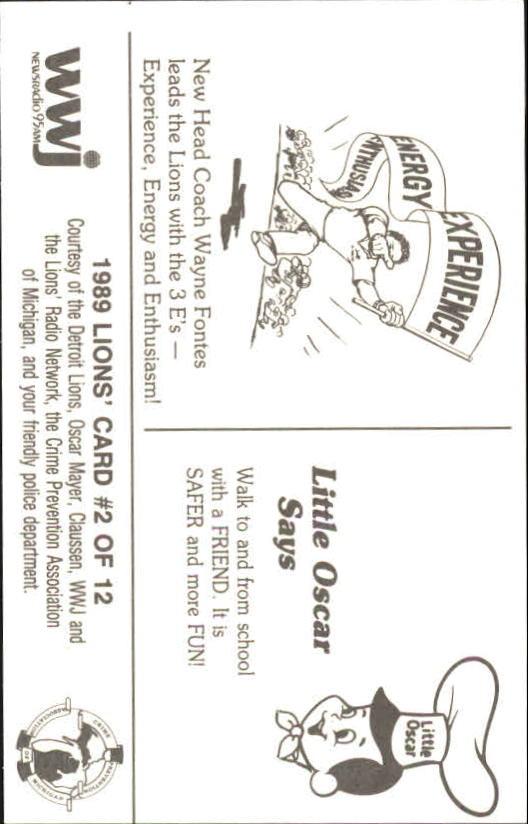1989 Lions Police #11 Barry Sanders back image